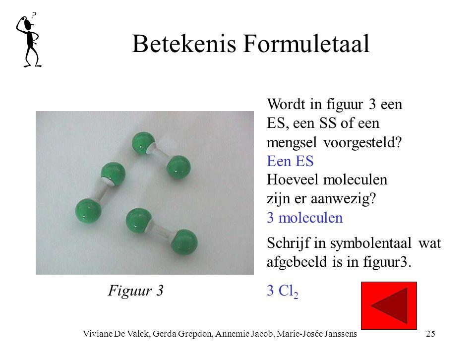 Betekenis Formuletaal Viviane De Valck, Gerda Grepdon, Annemie Jacob, Marie-Josée Janssens25 Hoeveel moleculen zijn er aanwezig? 3 moleculen Wordt in