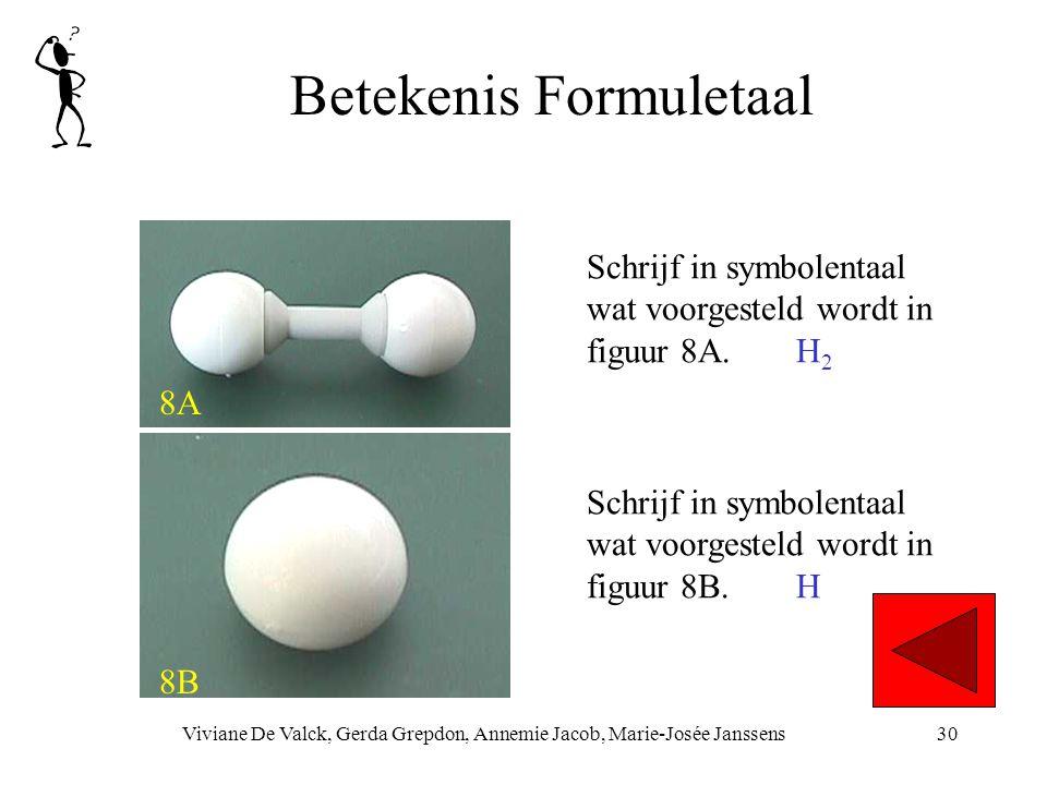 Betekenis Formuletaal Viviane De Valck, Gerda Grepdon, Annemie Jacob, Marie-Josée Janssens30 8A 8B Schrijf in symbolentaal wat voorgesteld wordt in figuur 8B.H Schrijf in symbolentaal wat voorgesteld wordt in figuur 8A.H 2