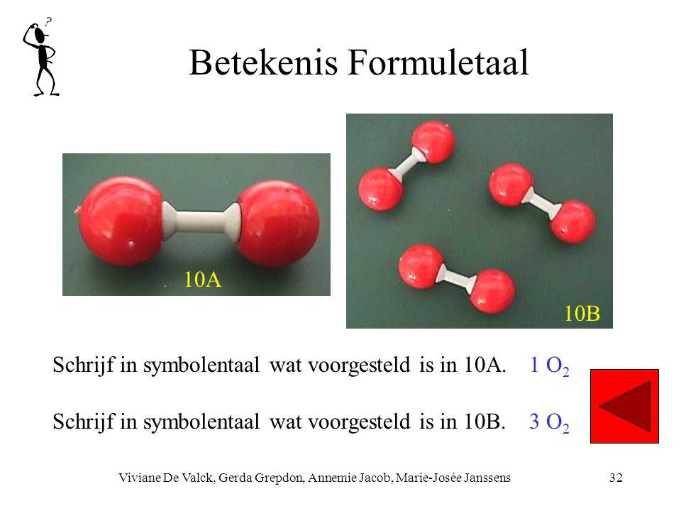 Betekenis Formuletaal Viviane De Valck, Gerda Grepdon, Annemie Jacob, Marie-Josée Janssens32 Schrijf in symbolentaal wat voorgesteld is in 10A. 1 O 2