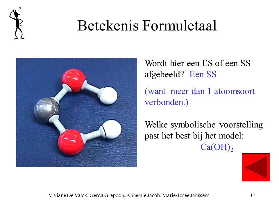 Betekenis Formuletaal Viviane De Valck, Gerda Grepdon, Annemie Jacob, Marie-Josée Janssens37 Welke symbolische voorstelling past het best bij het model: Ca(OH) 2 Wordt hier een ES of een SS afgebeeld.