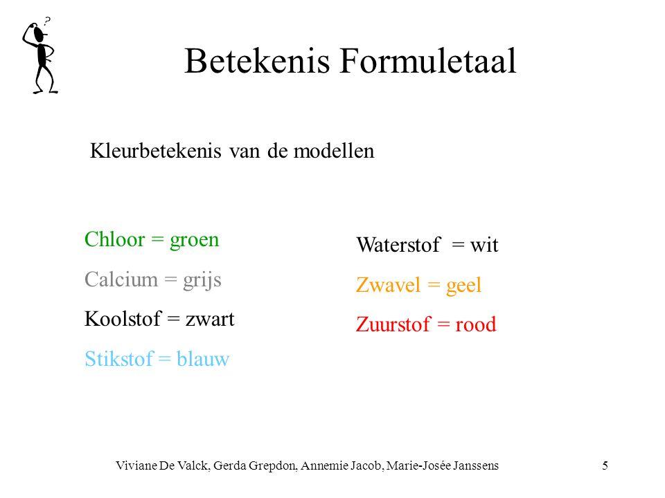 Betekenis Formuletaal Viviane De Valck, Gerda Grepdon, Annemie Jacob, Marie-Josée Janssens5 Kleurbetekenis van de modellen Chloor = groen Calcium = grijs Koolstof = zwart Stikstof = blauw Waterstof = wit Zwavel = geel Zuurstof = rood