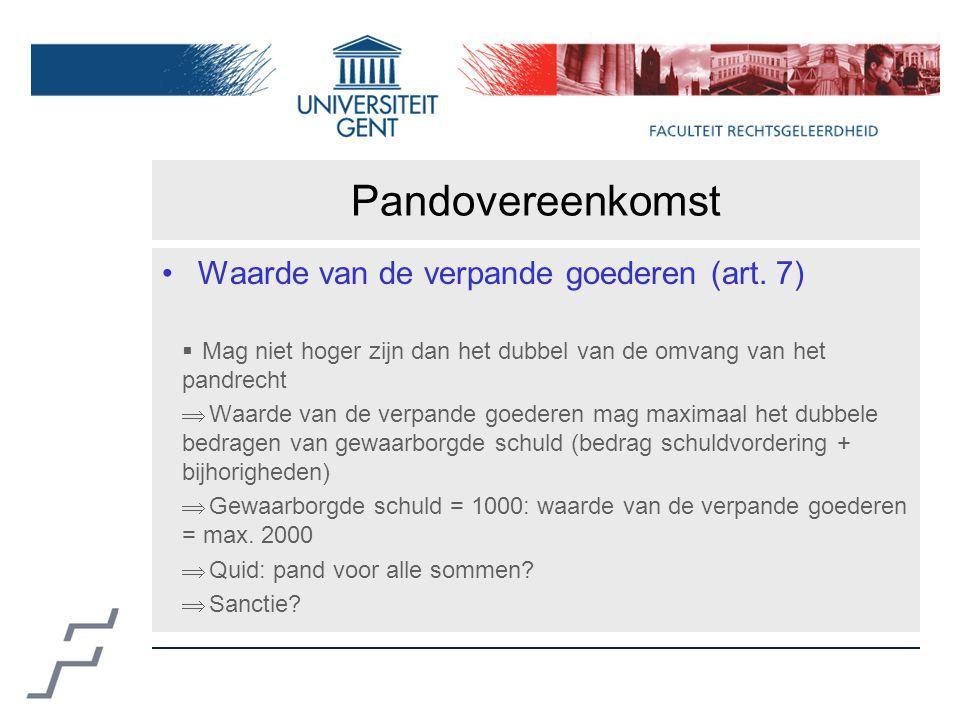 Pandovereenkomst Waarde van de verpande goederen (art.