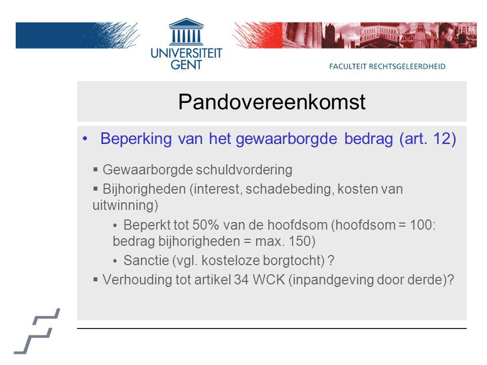 Pandovereenkomst Beperking van het gewaarborgde bedrag (art.