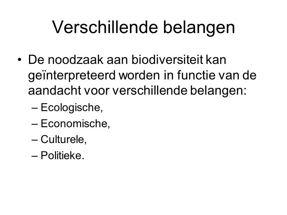 Verschillende belangen De noodzaak aan biodiversiteit kan geïnterpreteerd worden in functie van de aandacht voor verschillende belangen: –Ecologische, –Economische, –Culturele, –Politieke.