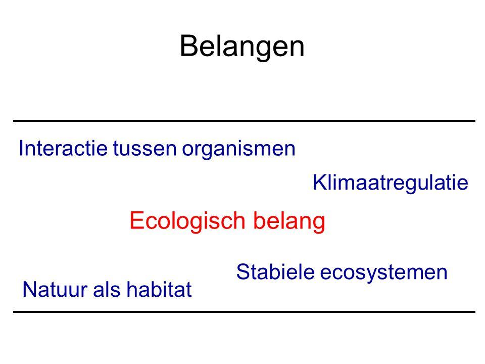 Ecologisch belang Natuur als habitat Interactie tussen organismen Stabiele ecosystemen Klimaatregulatie Belangen