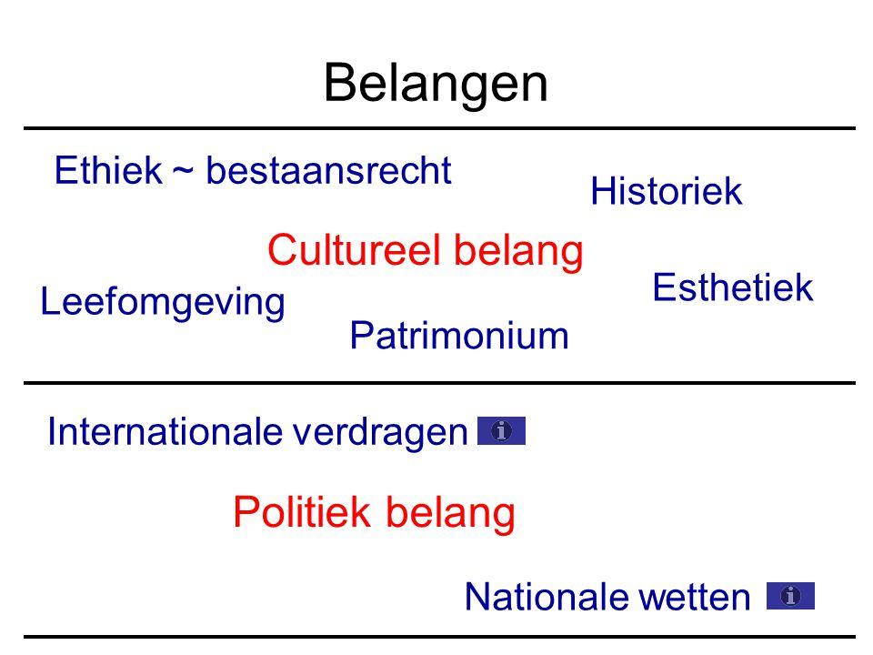 Cultureel belang Historiek Leefomgeving Esthetiek Ethiek ~ bestaansrecht Politiek belang Internationale verdragen Nationale wetten Patrimonium Belangen