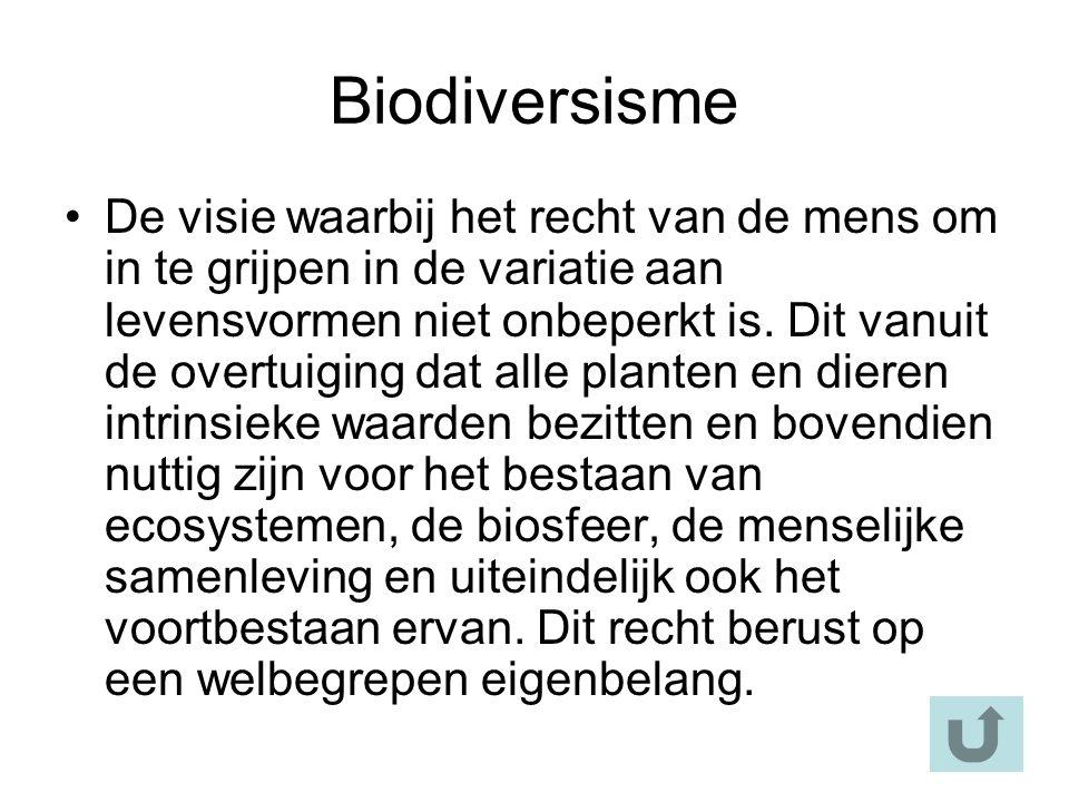 Biodiversisme De visie waarbij het recht van de mens om in te grijpen in de variatie aan levensvormen niet onbeperkt is.