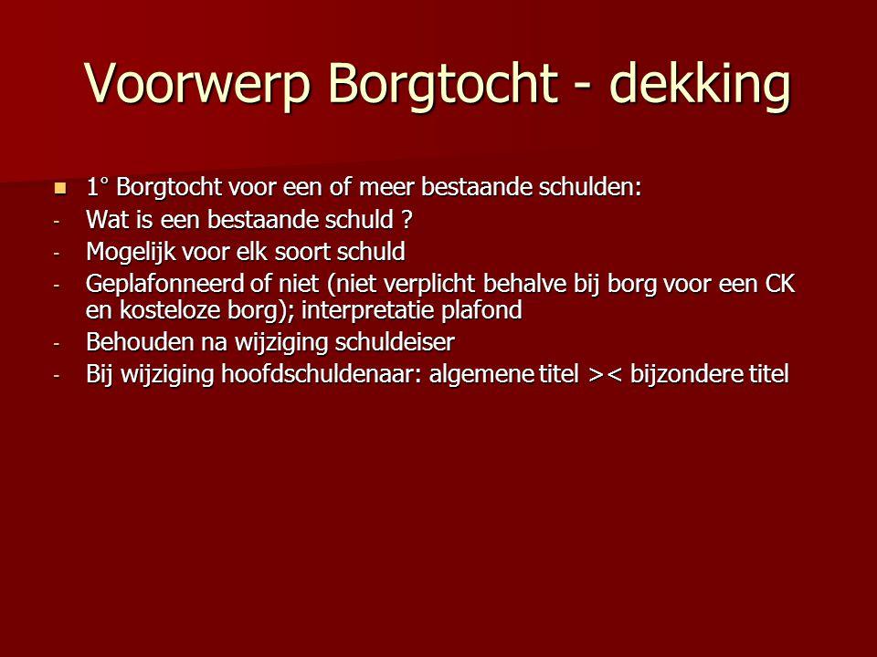 Voorwerp Borgtocht - dekking 1° Borgtocht voor een of meer bestaande schulden: 1° Borgtocht voor een of meer bestaande schulden: - Wat is een bestaande schuld .