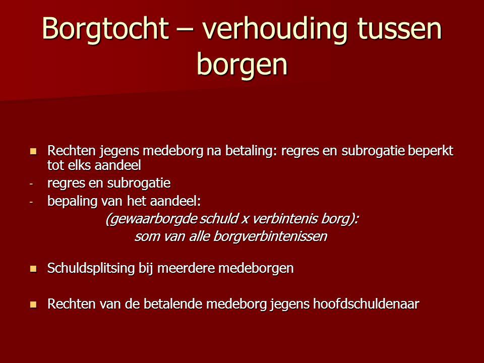 Borgtocht – verhouding tussen borgen Rechten jegens medeborg na betaling: regres en subrogatie beperkt tot elks aandeel Rechten jegens medeborg na bet