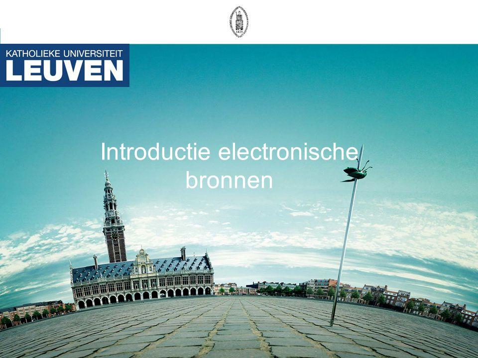 Introductie electronische bronnen