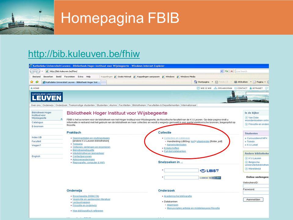 Homepagina FBIB http://bib.kuleuven.be/fhiw
