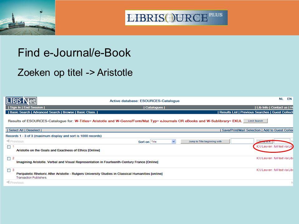 Find e-Journal/e-Book Zoeken op titel -> Aristotle