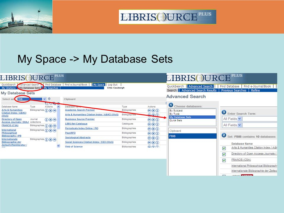 My Space -> My Database Sets