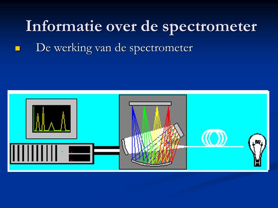 Informatie over de spectrometer Informatie over de spectrometer De werking van de spectrometer De werking van de spectrometer