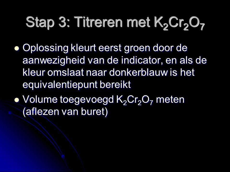Stap 3: Titreren met K 2 Cr 2 O 7 Oplossing kleurt eerst groen door de aanwezigheid van de indicator, en als de kleur omslaat naar donkerblauw is het