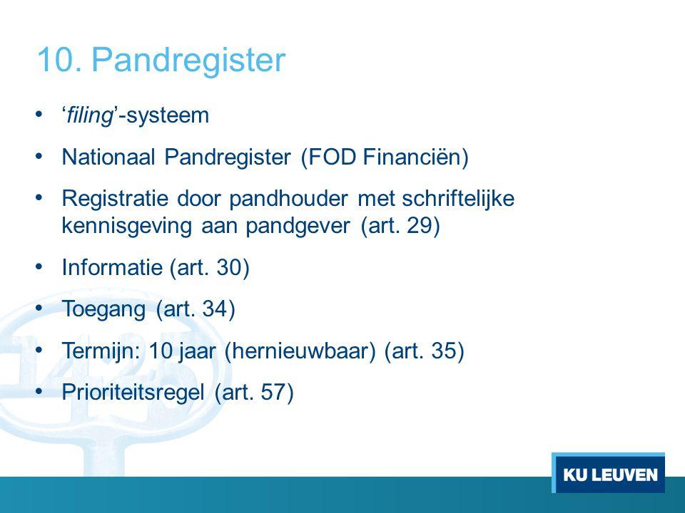 10.Pandregister 'filing'-systeem Nationaal Pandregister (FOD Financiën) Registratie door pandhouder met schriftelijke kennisgeving aan pandgever (art.