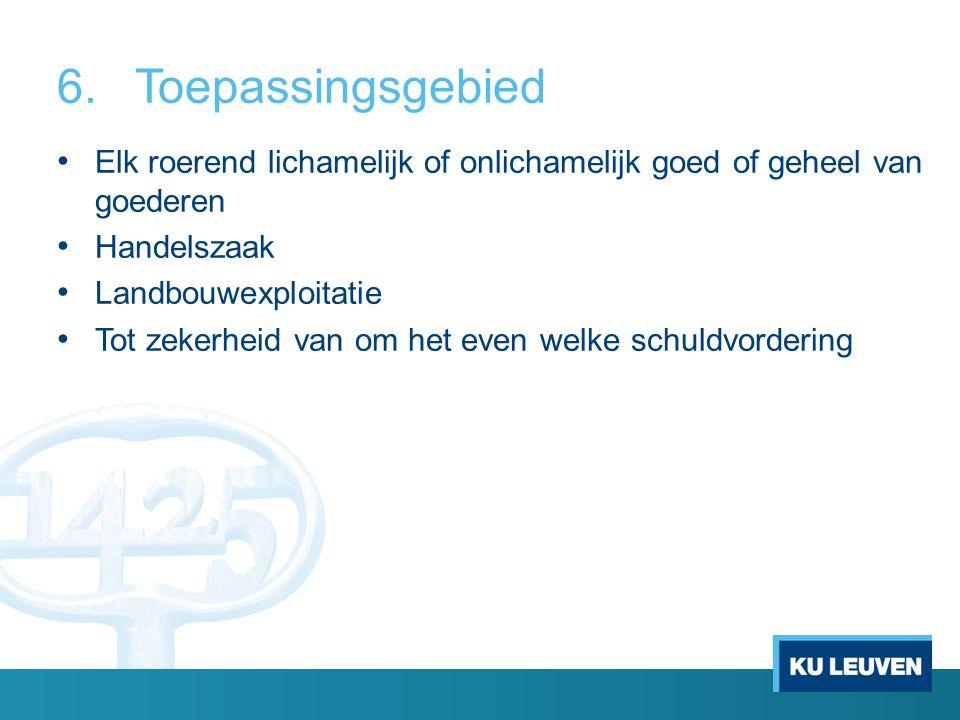 7.Uitgesloten materies Zekerheden op schepen Intellectuele rechten: geen afbreuk aan bestaande regelingen Wet Financiële Zekerheden Insolventierecht Leasing Voorrechten (uitz.