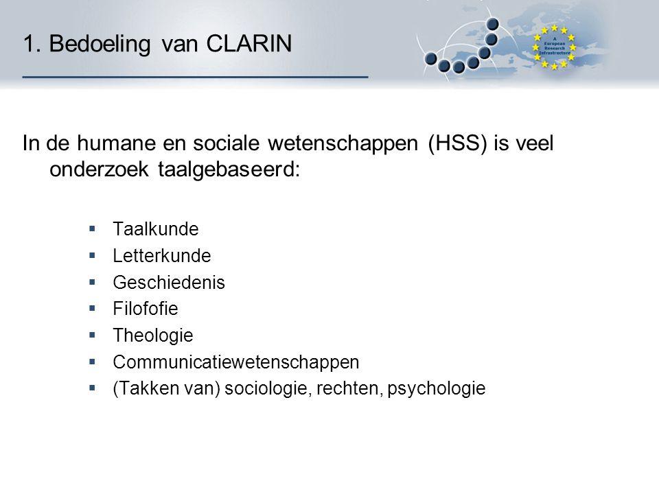 1. Bedoeling van CLARIN In de humane en sociale wetenschappen (HSS) is veel onderzoek taalgebaseerd:  Taalkunde  Letterkunde  Geschiedenis  Filofo