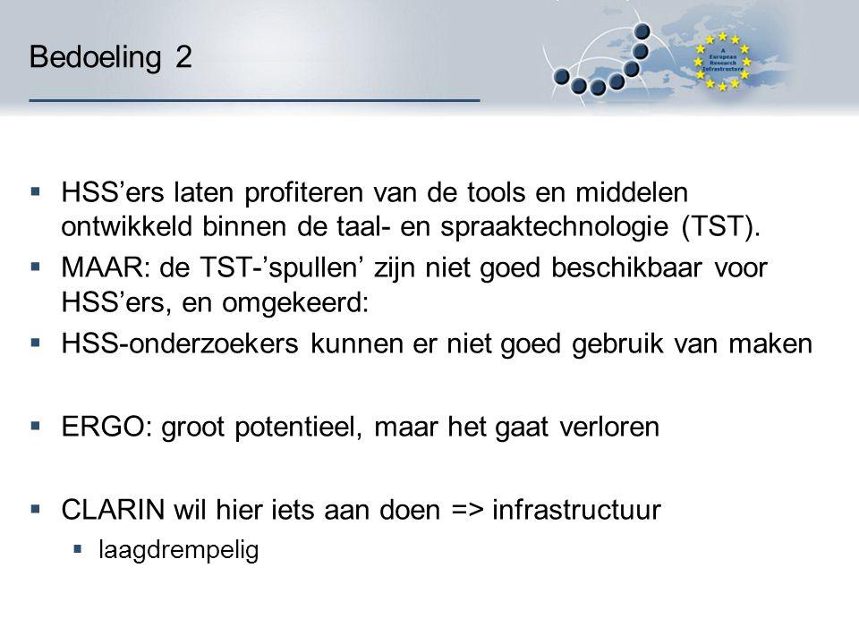 Bedoeling 2  HSS'ers laten profiteren van de tools en middelen ontwikkeld binnen de taal- en spraaktechnologie (TST).