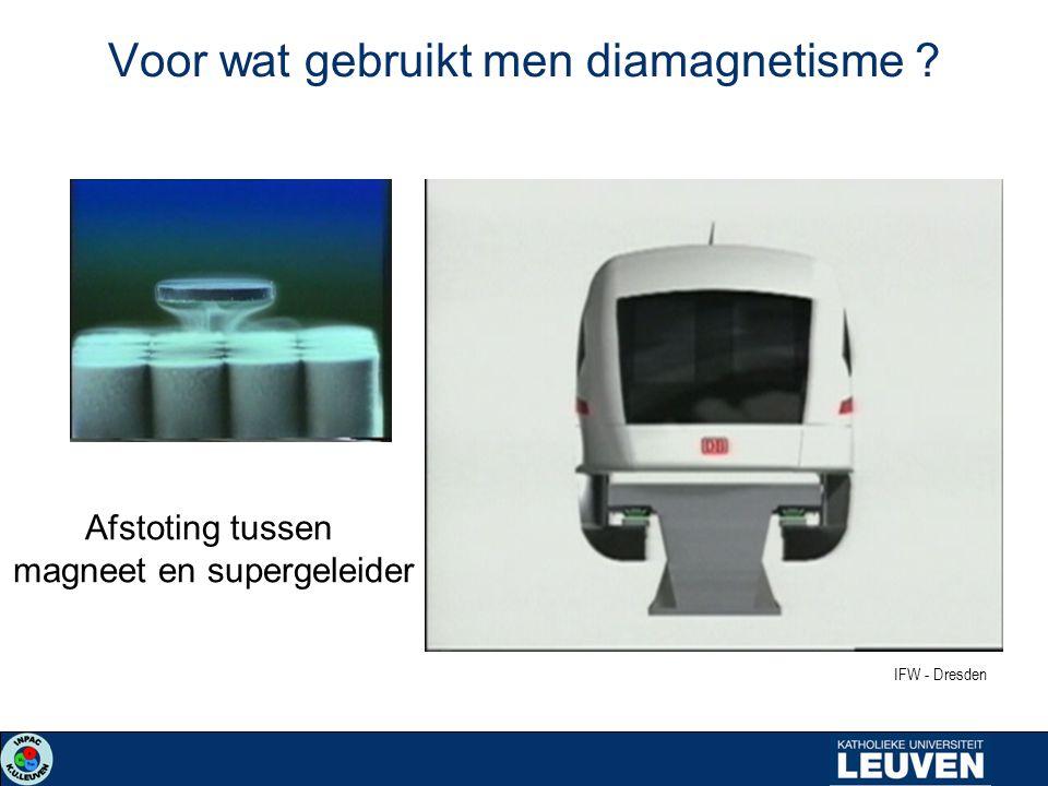 Voor wat gebruikt men diamagnetisme ? Afstoting tussen magneet en supergeleider IFW - Dresden