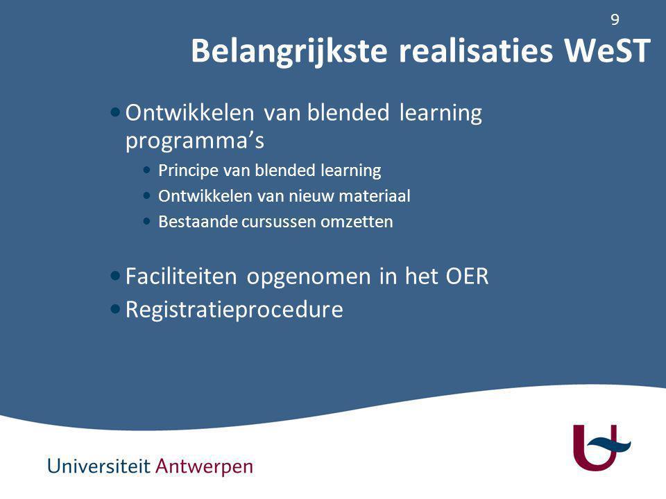9 Ontwikkelen van blended learning programma's Principe van blended learning Ontwikkelen van nieuw materiaal Bestaande cursussen omzetten Faciliteiten opgenomen in het OER Registratieprocedure Belangrijkste realisaties WeST