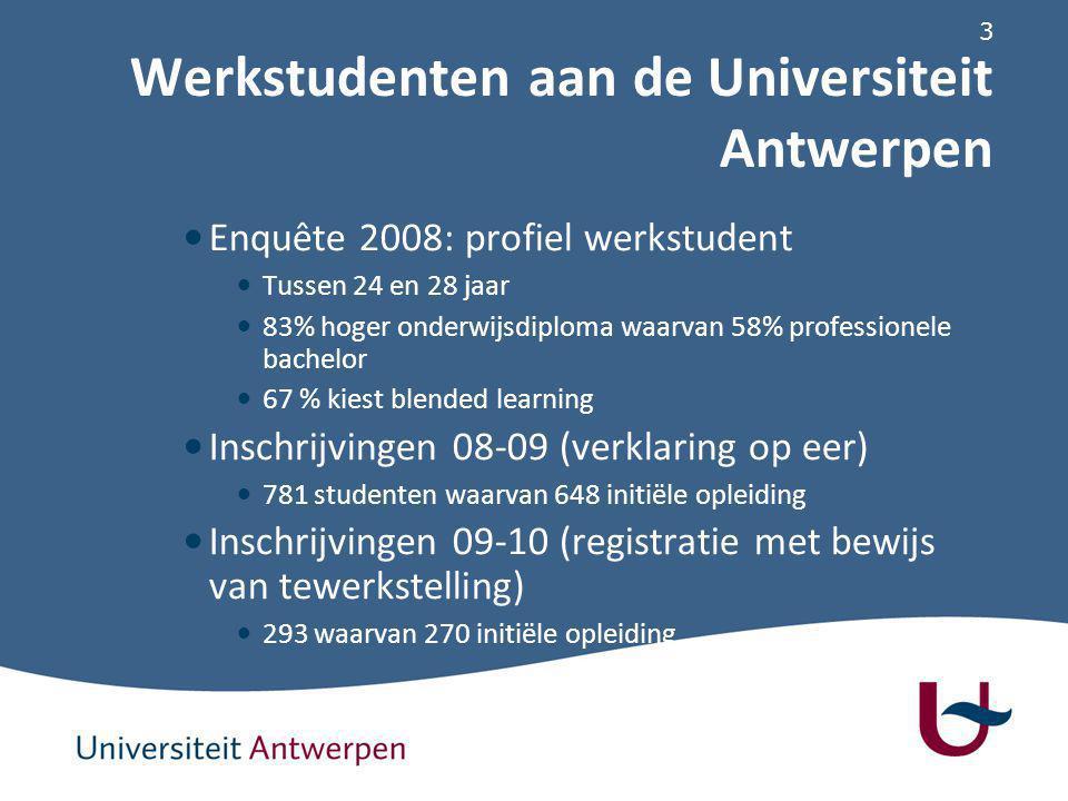 3 Werkstudenten aan de Universiteit Antwerpen Enquête 2008: profiel werkstudent Tussen 24 en 28 jaar 83% hoger onderwijsdiploma waarvan 58% professionele bachelor 67 % kiest blended learning Inschrijvingen 08-09 (verklaring op eer) 781 studenten waarvan 648 initiële opleiding Inschrijvingen 09-10 (registratie met bewijs van tewerkstelling) 293 waarvan 270 initiële opleiding