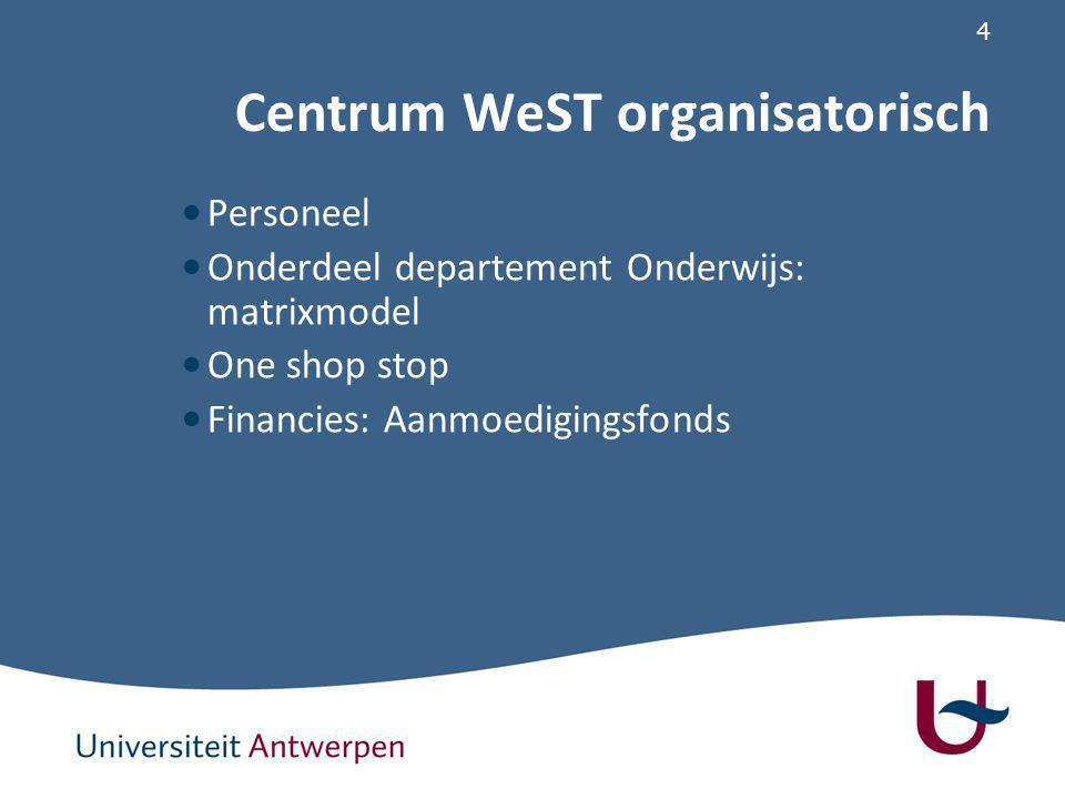 4 Centrum WeST organisatorisch Personeel Onderdeel departement Onderwijs: matrixmodel One shop stop Financies: Aanmoedigingsfonds