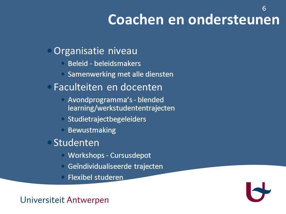 6 Organisatie niveau Beleid - beleidsmakers Samenwerking met alle diensten Faculteiten en docenten Avondprogramma's - blended learning/werkstudententrajecten Studietrajectbegeleiders Bewustmaking Studenten Workshops - Cursusdepot Geïndividualiseerde trajecten Flexibel studeren Coachen en ondersteunen