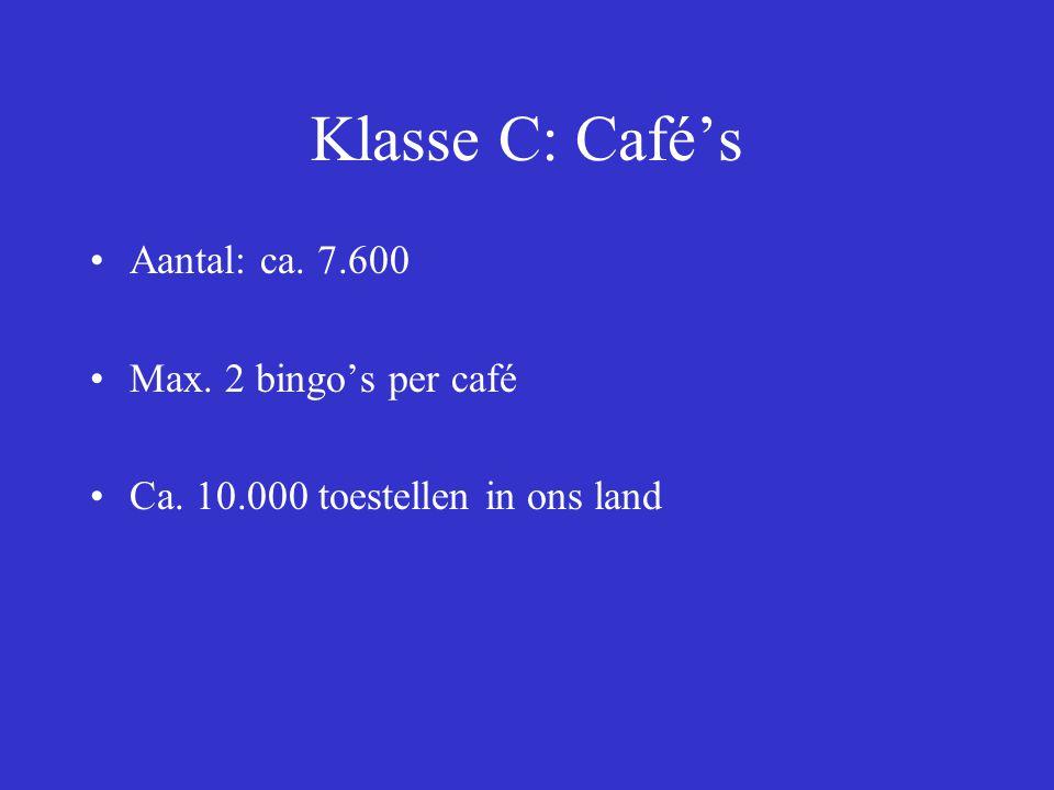 Klasse C: Café's Aantal: ca. 7.600 Max. 2 bingo's per café Ca. 10.000 toestellen in ons land