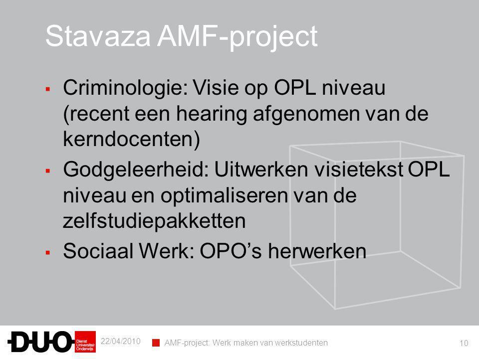 22/04/2010 AMF-project: Werk maken van werkstudenten 10 Stavaza AMF-project ▪ Criminologie: Visie op OPL niveau (recent een hearing afgenomen van de k