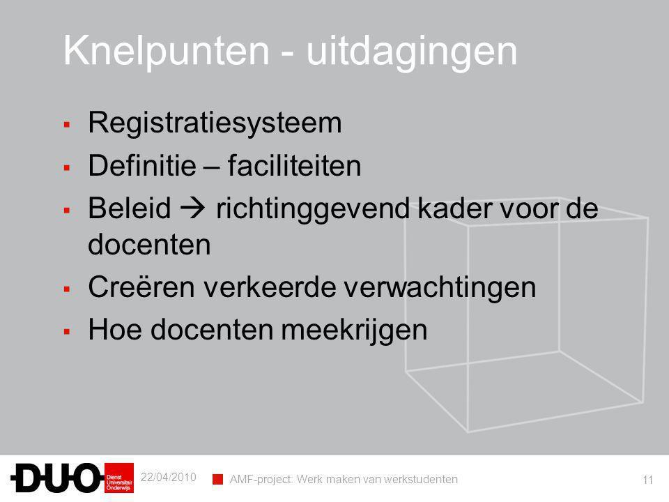 22/04/2010 AMF-project: Werk maken van werkstudenten 11 Knelpunten - uitdagingen ▪ Registratiesysteem ▪ Definitie – faciliteiten ▪ Beleid  richtingge