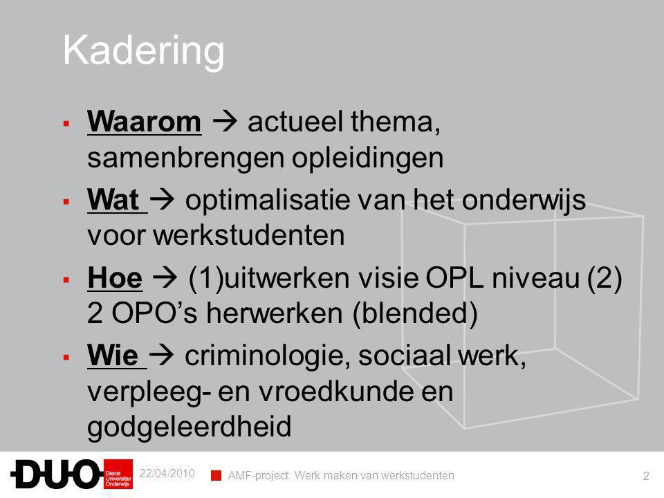 22/04/2010 AMF-project: Werk maken van werkstudenten 2 Kadering ▪ Waarom  actueel thema, samenbrengen opleidingen ▪ Wat  optimalisatie van het onder