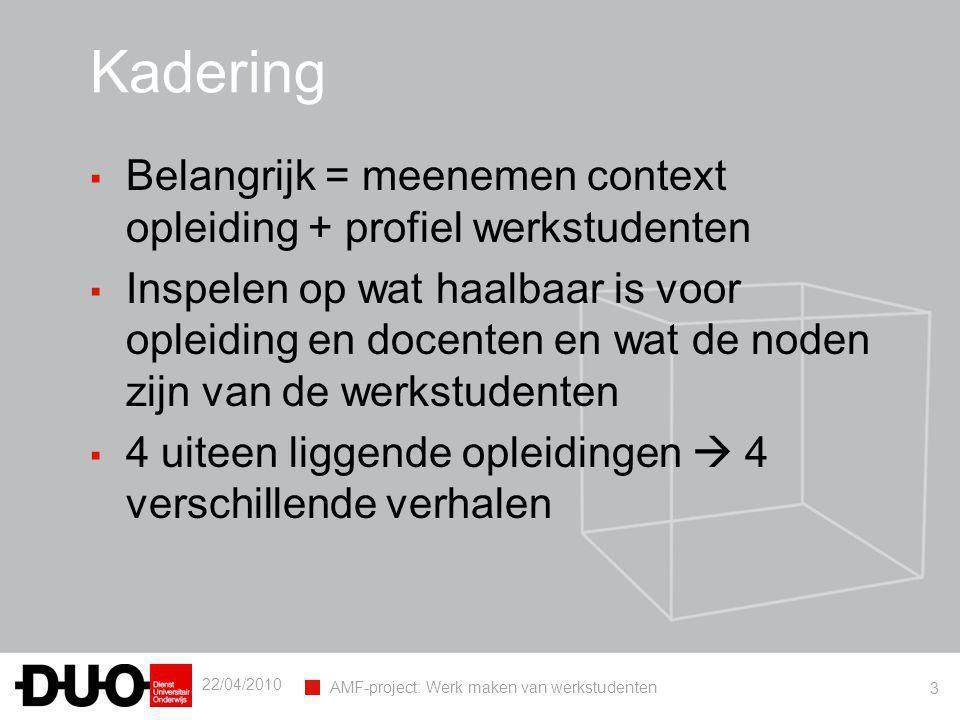 22/04/2010 AMF-project: Werk maken van werkstudenten 3 Kadering ▪ Belangrijk = meenemen context opleiding + profiel werkstudenten ▪ Inspelen op wat ha