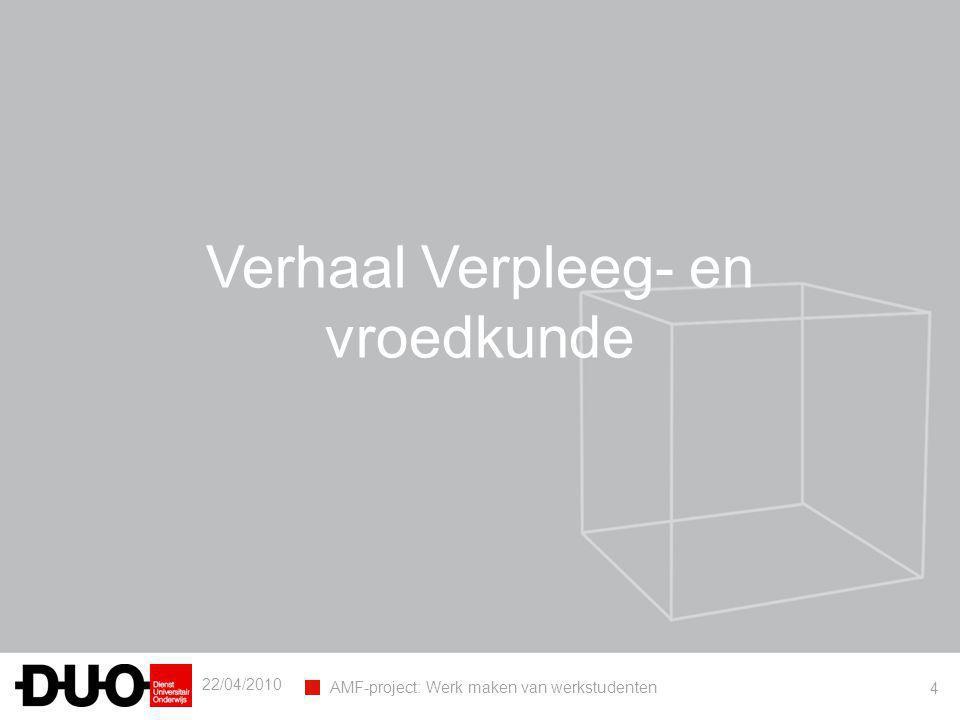 22/04/2010 AMF-project: Werk maken van werkstudenten 4 Verhaal Verpleeg- en vroedkunde