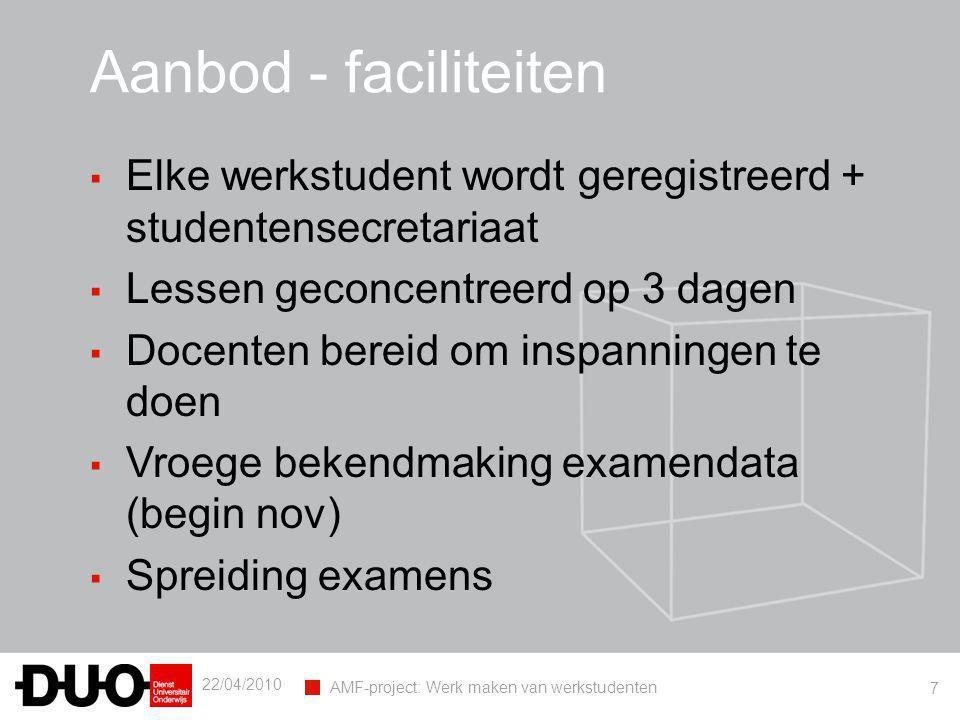 22/04/2010 AMF-project: Werk maken van werkstudenten 7 Aanbod - faciliteiten ▪ Elke werkstudent wordt geregistreerd + studentensecretariaat ▪ Lessen g