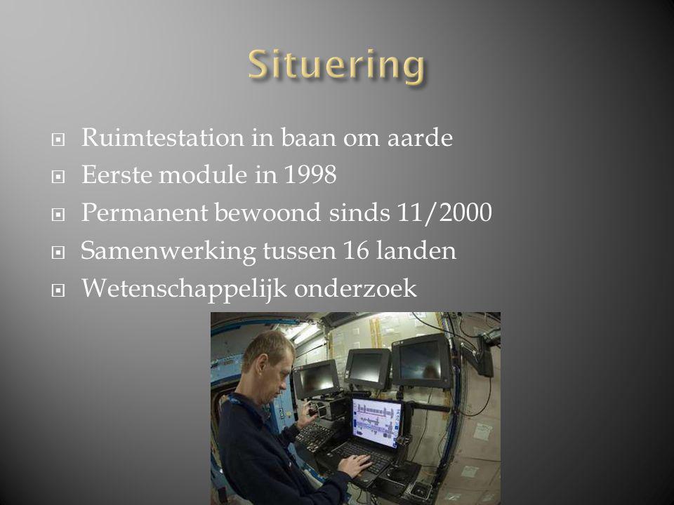 Ruimtestation in baan om aarde  Eerste module in 1998  Permanent bewoond sinds 11/2000  Samenwerking tussen 16 landen  Wetenschappelijk onderzoek