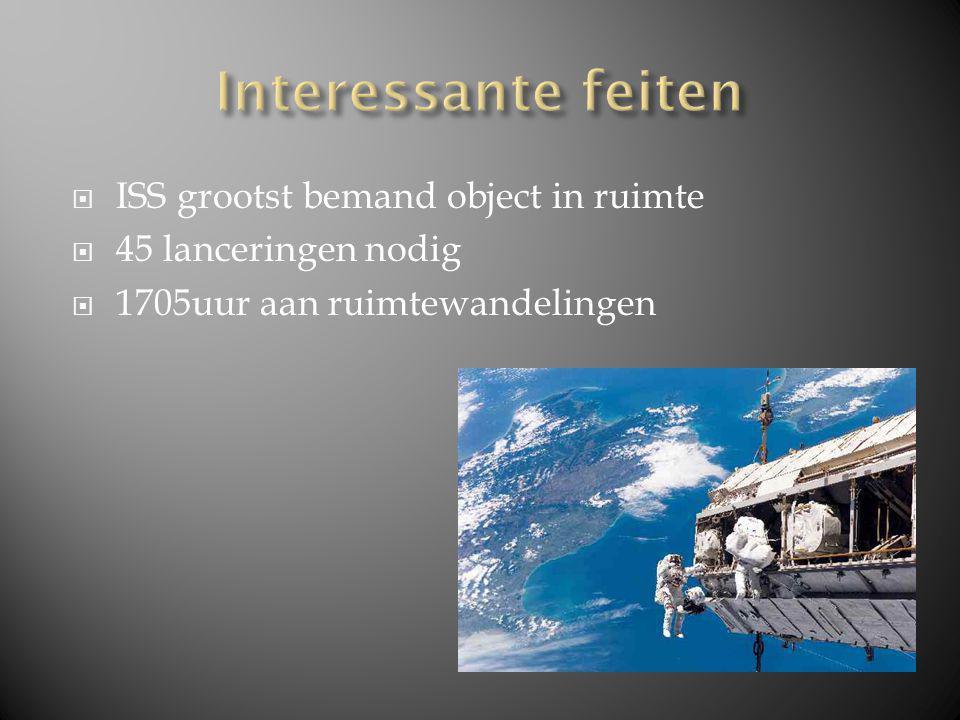  ISS grootst bemand object in ruimte  45 lanceringen nodig  1705uur aan ruimtewandelingen
