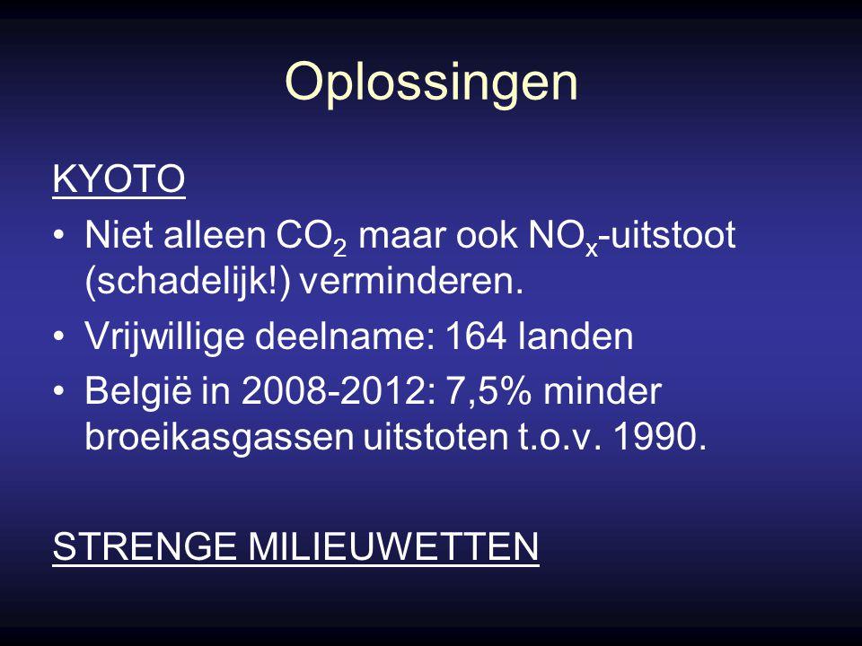Oplossingen KYOTO Niet alleen CO 2 maar ook NO x -uitstoot (schadelijk!) verminderen.