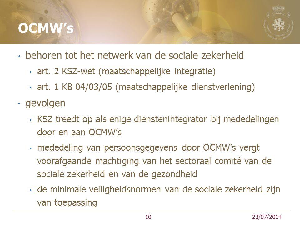 OCMW's behoren tot het netwerk van de sociale zekerheid art. 2 KSZ-wet (maatschappelijke integratie) art. 1 KB 04/03/05 (maatschappelijke dienstverlen