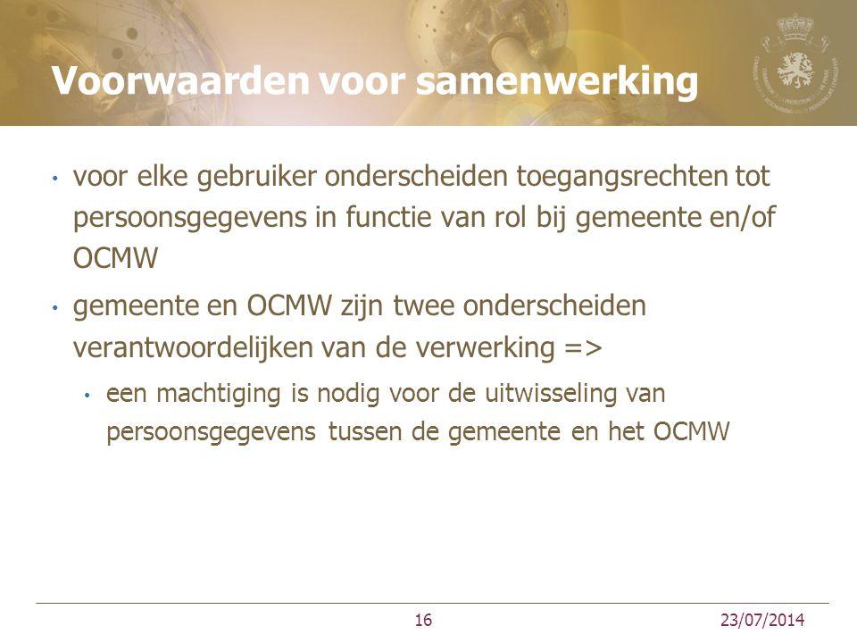 Voorwaarden voor samenwerking voor elke gebruiker onderscheiden toegangsrechten tot persoonsgegevens in functie van rol bij gemeente en/of OCMW gemeen