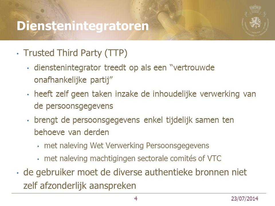 Dienstenintegratoren Trusted Third Party (TTP) dienstenintegrator treedt op als een vertrouwde onafhankelijke partij heeft zelf geen taken inzake de inhoudelijke verwerking van de persoonsgegevens brengt de persoonsgegevens enkel tijdelijk samen ten behoeve van derden met naleving Wet Verwerking Persoonsgegevens met naleving machtigingen sectorale comités of VTC de gebruiker moet de diverse authentieke bronnen niet zelf afzonderlijk aanspreken 23/07/20144