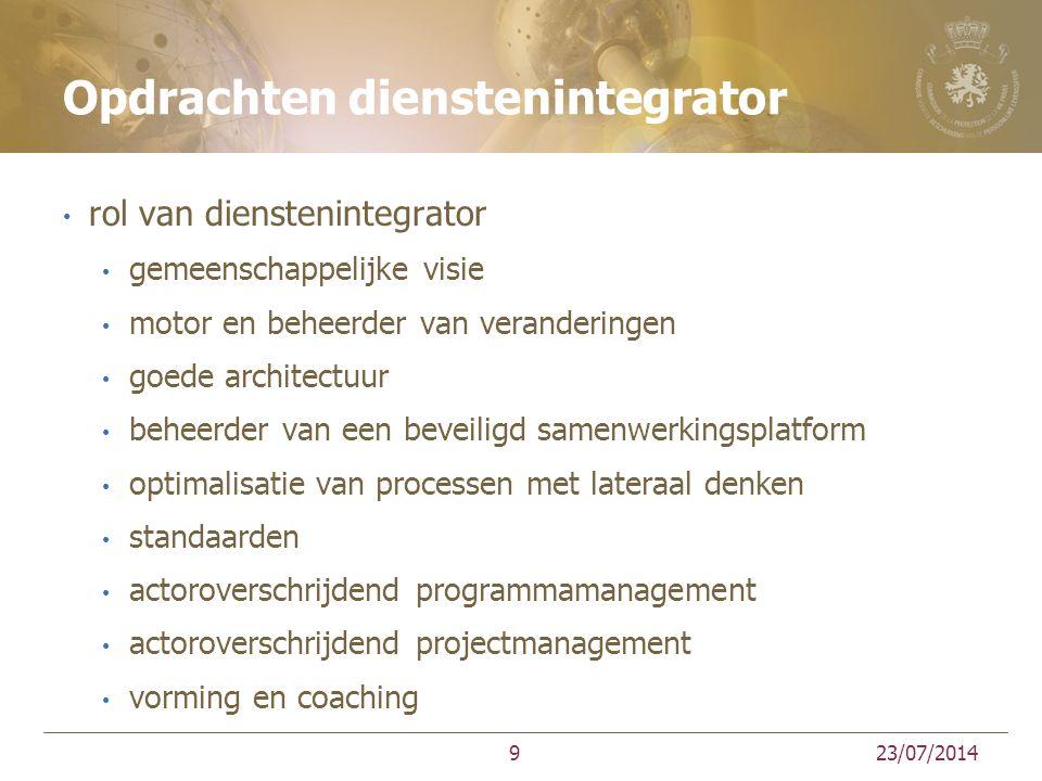 Opdrachten dienstenintegrator rol van dienstenintegrator gemeenschappelijke visie motor en beheerder van veranderingen goede architectuur beheerder va