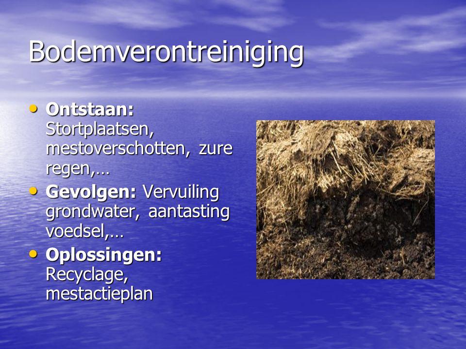 Bodemverontreiniging Ontstaan: Stortplaatsen, mestoverschotten, zure regen,… Ontstaan: Stortplaatsen, mestoverschotten, zure regen,… Gevolgen: Vervuil