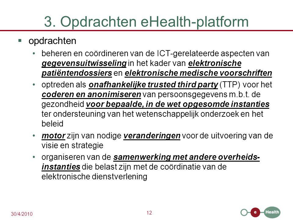 12 30/4/2010 3. Opdrachten eHealth-platform  opdrachten beheren en coördineren van de ICT-gerelateerde aspecten van gegevensuitwisseling in het kader