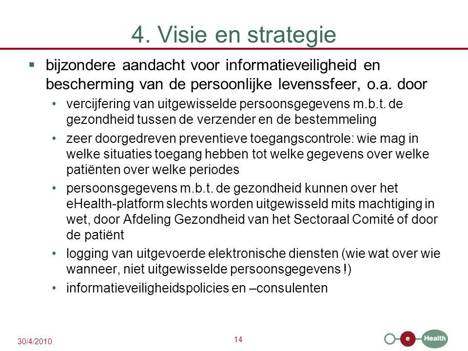 14 30/4/2010 4. Visie en strategie  bijzondere aandacht voor informatieveiligheid en bescherming van de persoonlijke levenssfeer, o.a. door vercijfer