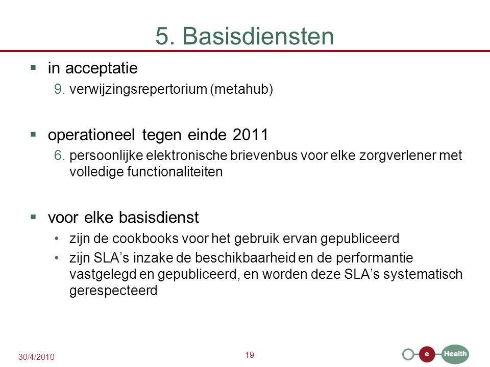 19 30/4/2010 5. Basisdiensten  in acceptatie 9.verwijzingsrepertorium (metahub)  operationeel tegen einde 2011 6.persoonlijke elektronische brievenb