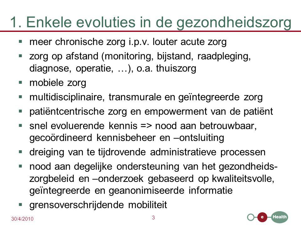 3 30/4/2010 1. Enkele evoluties in de gezondheidszorg  meer chronische zorg i.p.v. louter acute zorg  zorg op afstand (monitoring, bijstand, raadple
