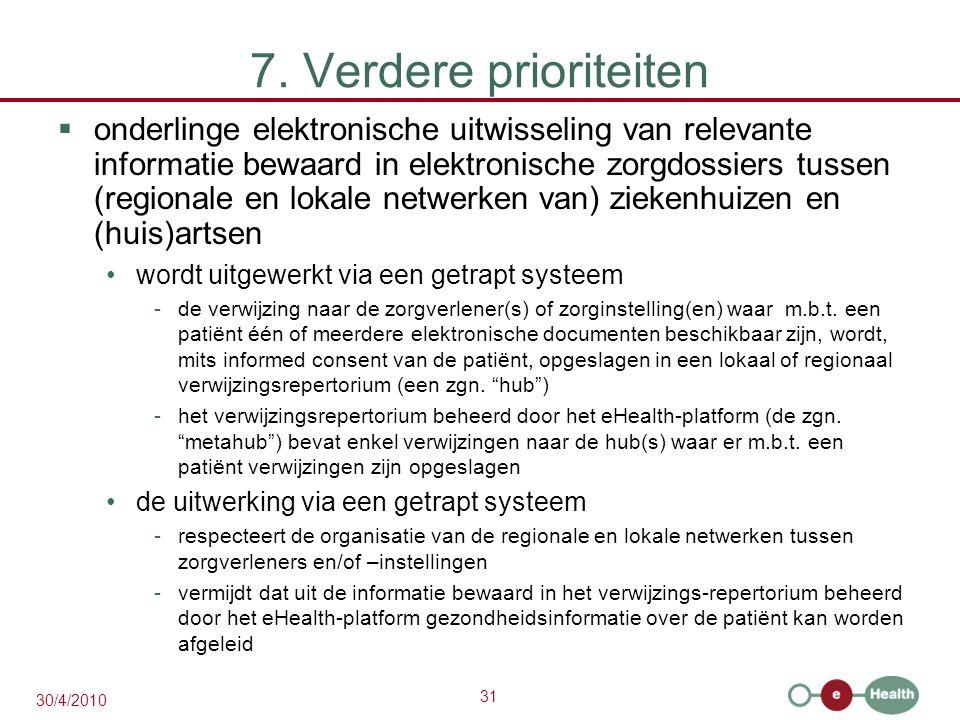 31 30/4/2010 7. Verdere prioriteiten  onderlinge elektronische uitwisseling van relevante informatie bewaard in elektronische zorgdossiers tussen (re