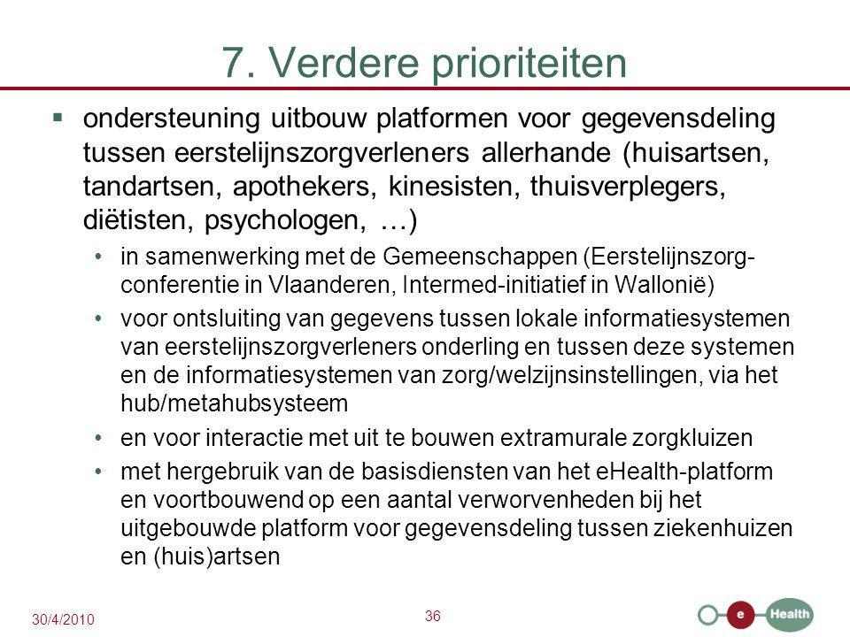 36 30/4/2010 7. Verdere prioriteiten  ondersteuning uitbouw platformen voor gegevensdeling tussen eerstelijnszorgverleners allerhande (huisartsen, ta