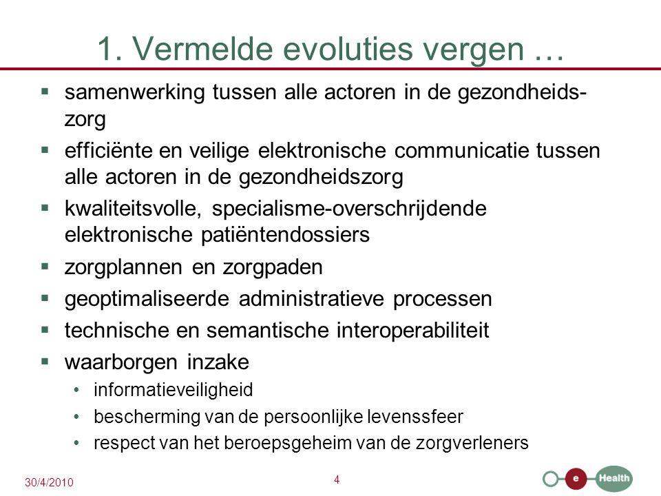 4 30/4/2010 1. Vermelde evoluties vergen …  samenwerking tussen alle actoren in de gezondheids- zorg  efficiënte en veilige elektronische communicat